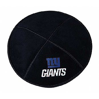 NY Giants Kippah - Genuine Black Suede