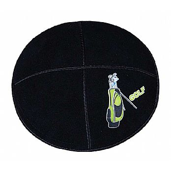 Golf Kippah - Genuine Black Suede