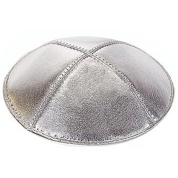 Genuine Leather Silver Lame Kippah