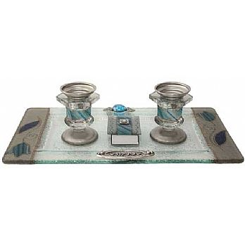 Glass Candlestick Set - Ocean Blue Tulips
