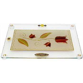 Challah Tray On Legs Tulip - Colorful