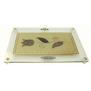 Challah Tray On Legs Tulip - Brown