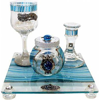 Havdalah Set With Tray Applique -Ocean Blue
