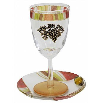Glass Kiddush Cup with Plate  Tulip- Colorful- Lilly Art