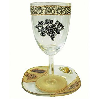 Glass Kiddush Cup with Tulip- Brown- Lilly Art