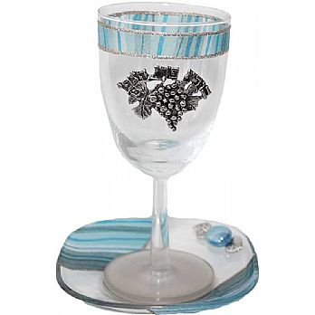 Glass Kiddush Cup Applique - Ocean Blue - Lilly Art