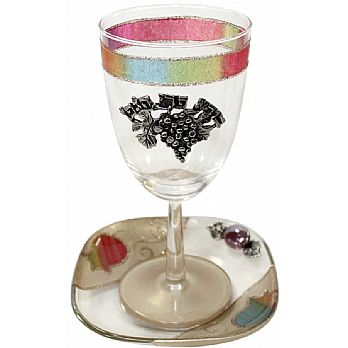 Glass Kiddush Cup with Pomegranate design - Rainbow- Lilly Art