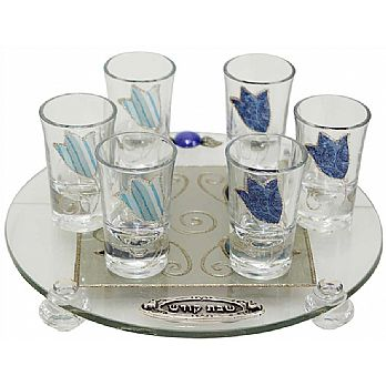 Liquor Set with 6 Glasses And Round Tray Tulip- Ocean