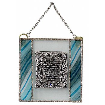 Glass Plaque Home Blessing in English - Ocean Blue