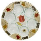 Round Seder Plate - Colorful Tulip by Lilly Art