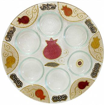Round Seder Plate - Red Pomegranate by Lilly Art