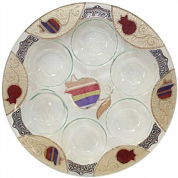 Round Seder Plate - purple pomegranate by Lilly Art