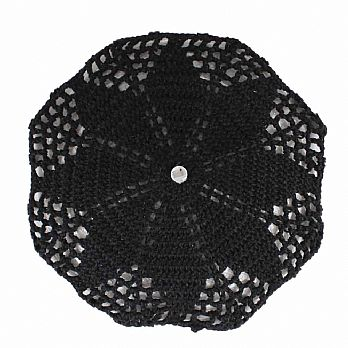 Hand Crochet Ladies Head Covers with Hidden Comb - Black