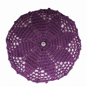 Hand Crochet Ladies Head Covers with Hidden Comb - Purple