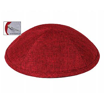 Deluxe Linen Kippot with Optional Imprint - Burgandy