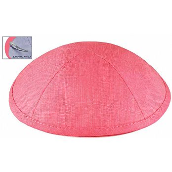 Deluxe Linen Kippot with Optional Imprint - Bubble Gum Pink