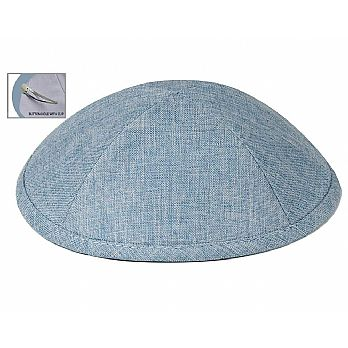 Deluxe Linen Kippot with Optional Imprint - Medium Blue
