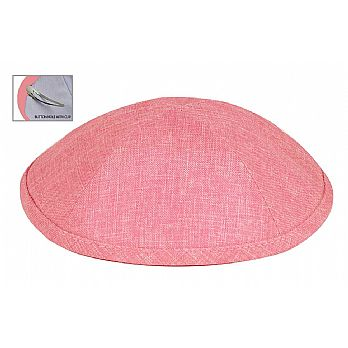Deluxe Linen Kippot with Optional Imprint - Pink