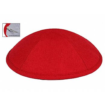 Deluxe Linen Kippot with Optional Imprint - Red