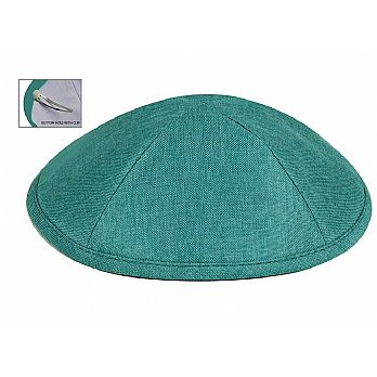 Deluxe Linen Kippot with Optional Imprint - Teal/ Turquoise