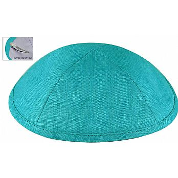 Deluxe Linen Kippot with Optional Imprint - Turquoise