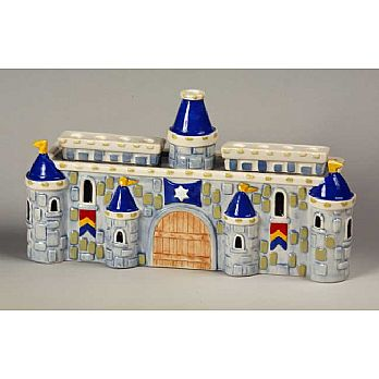 Ceramic Castle Menorah - Blue