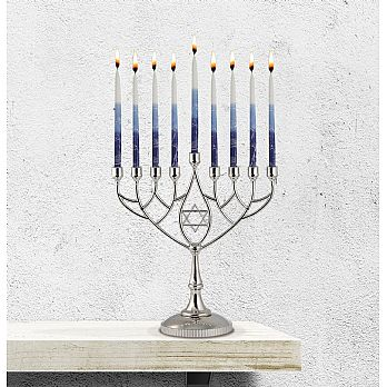 Silverplated Classic Hanukkah Menorah - Geometric