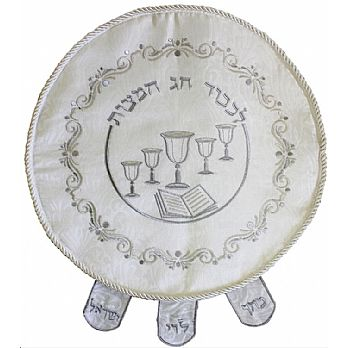 Round Brocade Matzah Cover With Heavy Plastic, The Matzah Cover To Wow Your Guests