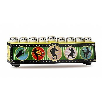 Ceramic Collectible Sports Menorah - Soccer