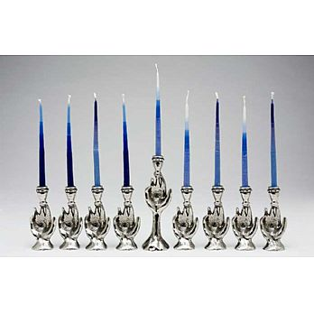 Pewter Art Menorah - Flames