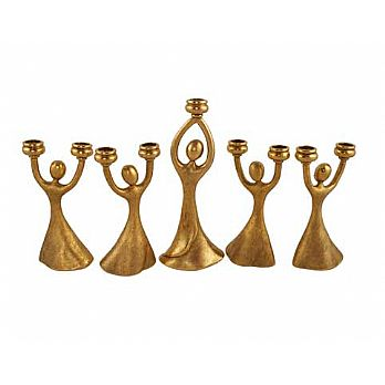 Joyous Dancing Menorah - Gold