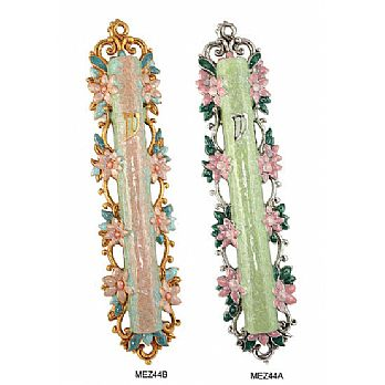 Hand Crafted Mezuzah Cover - Large Floral