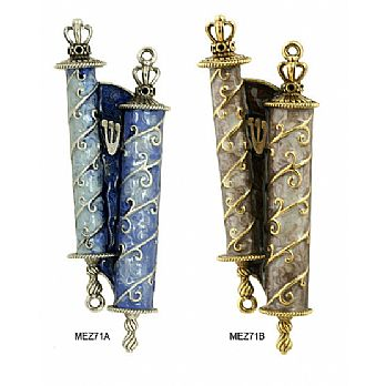 Hand Crafted Mezuzah Cover - Torah Scrolls
