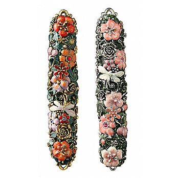 High End Mezuzah Cover - Flowers and Creatures