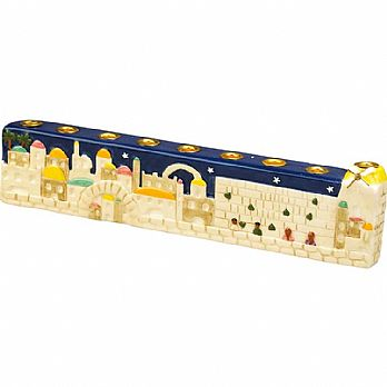 Hanukkah Jerusalem Menorah Painted Ceramics