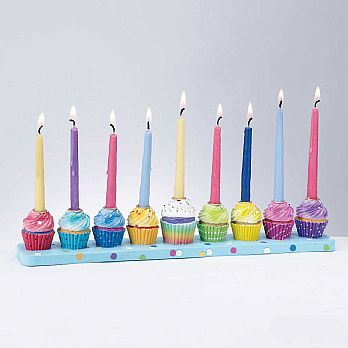 Cupcakes Menorah Hand-painted Poly Resin