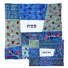 Raw Silk Matzah and Afikomen Set - Blues