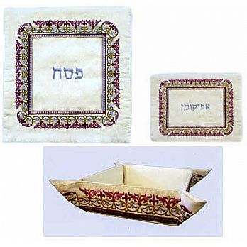 Raw Silk 3 Piece Passover Set - Regal