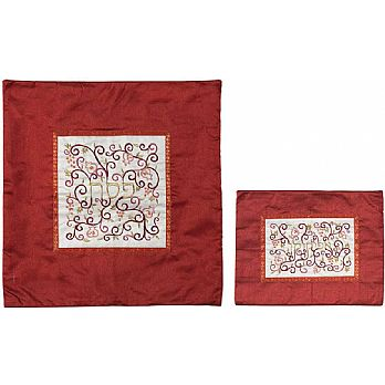 Embroidered Silk Matzah & Afikomen Bag by Emanuel - Maroon