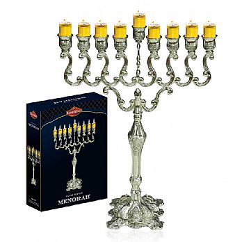 Large Silver Plated Traditional Oil or Candle Menorah