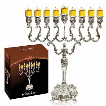 X-Large Silver Plated Traditional Oil or Candle Menorah
