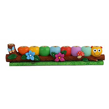 Poly Resin Caterpillar Menorah