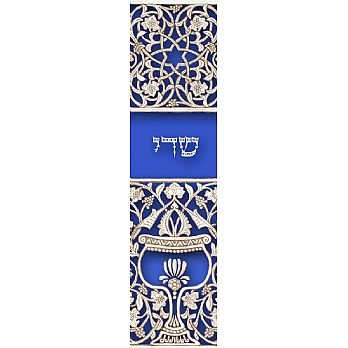 Blue Goblet Mezuzah Cover (small)