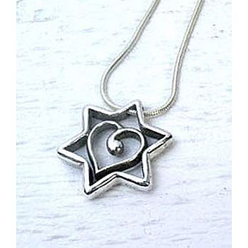 Star of David and Heart Necklace