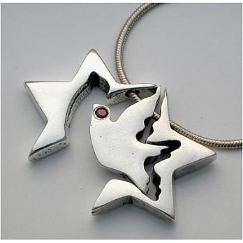 3 Piece Silver Star of David Necklace – Flying