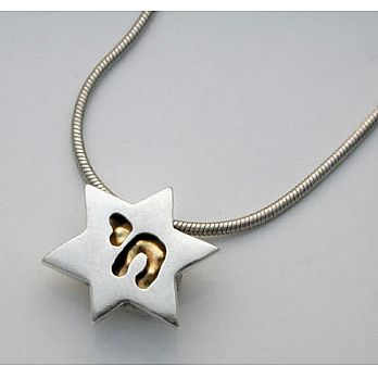 Silver & 18K Gold Star & Chai Necklace