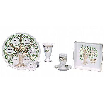 Complete Porcelain Seder Set - Tree of Life Collection