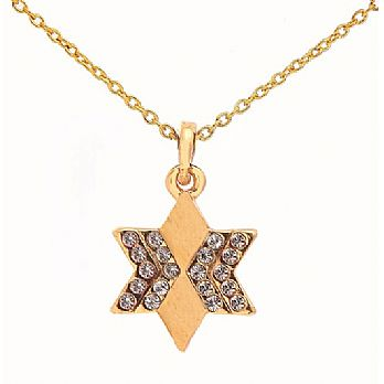 Gold Plated Star of David Necklace With Stones