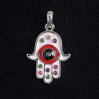 Jeweled Hamsa Necklace with Stones