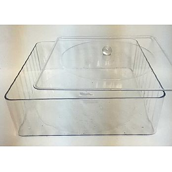Square Lucite Matzah Box with Cover- Large 12""